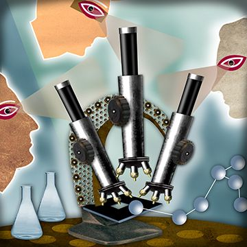 REX custom illustration of collaborative microscope